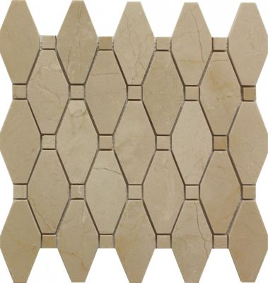 tan marble SSH-245-1 Alexandria Pattern Crema Marfil Polished Mosaic by soci