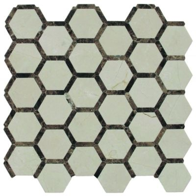 black, gray marble SSH-260-1 Victoria Blend Honeycomb Polished Mosaic by soci