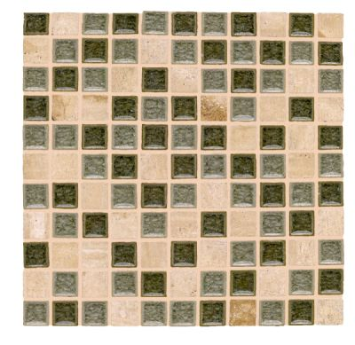 black, brown, green, tan glass SSM-407 Opulent Glass and Travertine Blend by soci