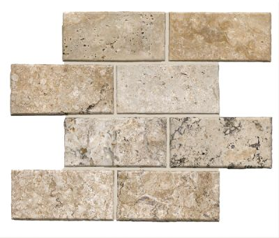 black, gray, tan travertine SSV-627 Philadelphia Pillow Edge Brick Honed by soci