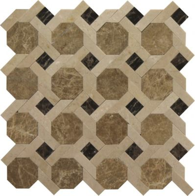 brown, tan marble SSW-903-1 Morocco Blend Norfolk Pattern Polished Mosaic by soci