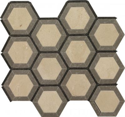brown, tan marble SSW-905 London Blend Noble Pattern Polished Mosaic by soci