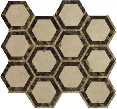 brown, tan marble SSW-906-1 Morocco Blend Noble Pattern Polished Mosaic by soci