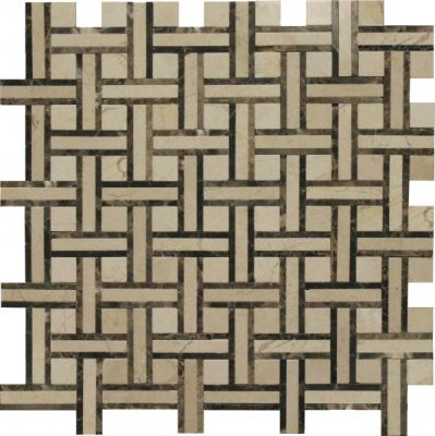 brown, tan marble SSW-909-1 Victoria Blend Normandy Pattern Polished Mosaic by soci