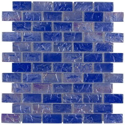 "blue glass Volcanic Series Glass Mosaic Tile - Electric Blue 1""x2"""