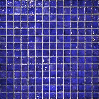 "blue glass Poured Series Glass Mosaic Tile - Cobalt 1""x1"""