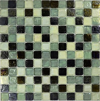 "green glass Celedon Pewter Glass Mosaic Tile 1""x1"""