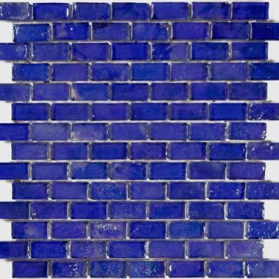 "blue glass Poured Series Glass Mosaic Tile - Cobalt 1""x2"""