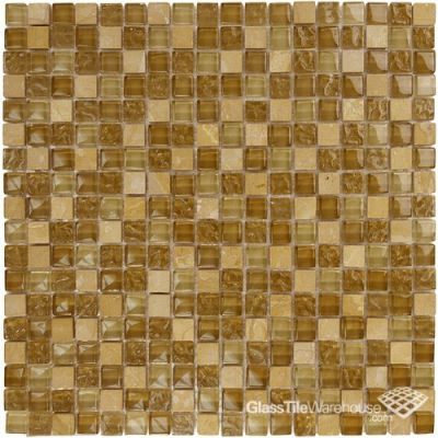 "tan, beige glass Brown Textured Glass & Stone Mosaic Tile Blend 5/8"" x 5/8"""