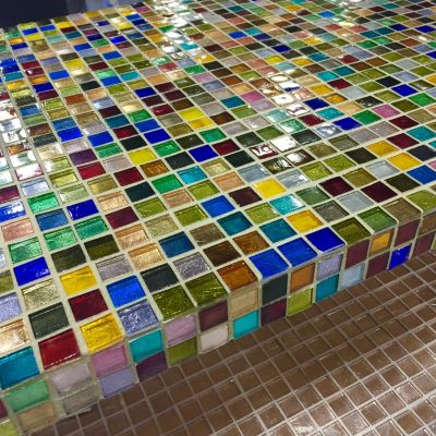 brown, gray, green, tan, purple glass Mosaic