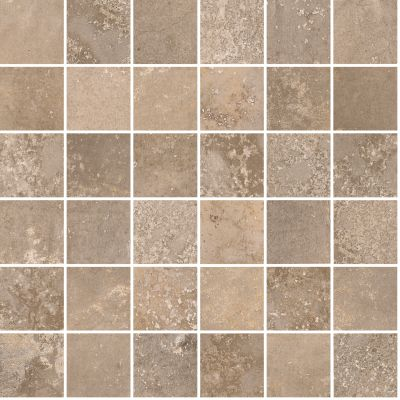 "brown, tan porcelain Aurora Dark Sand Mosaic 12""X12"""