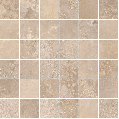 "tan, beige porcelain Aurora Honey Beige Mosaic 12""X12"""