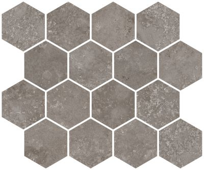 "gray porcelain Aurora Silver Hexagon Mosaic 10""X12"""
