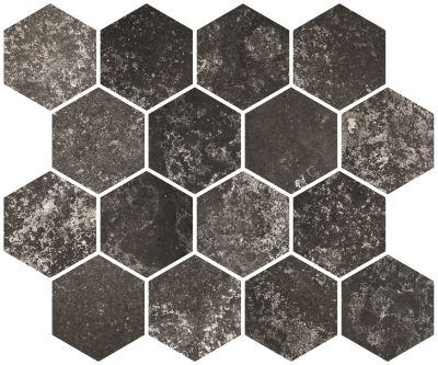 "black, gray porcelain Aurora Anthracite Hexagon Mosaic 10""X12"""
