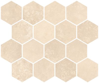 "tan, beige porcelain Aurora Light Cream Hexagon Mosaic 10""X12"""