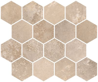 "tan, beige porcelain Aurora Honey Beige Hexagon Mosaic 10""X12"""