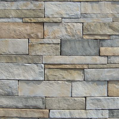 brown, gray, tan, white concrete Stack Stone Blue Creek by veneerstone