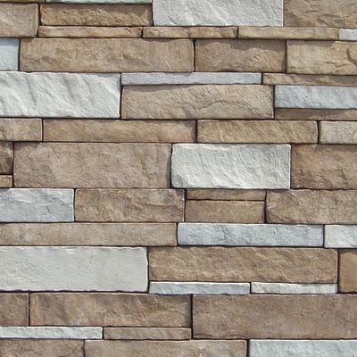 brown, gray, tan, white concrete Stack Stone Texas Cream by veneerstone