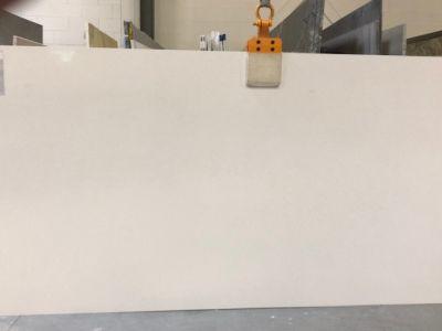 gray, tan, white engineered Corian Dupont Cloud White Slab by corian quartz