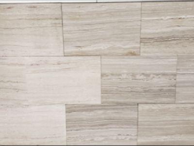 tan, white limestone Limestone 12x18 Tile Brushed Finish