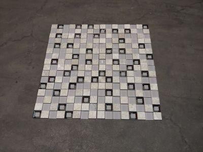 black, blue, brown, gray, tan, white, beige glass 12x12 Keops Gris Mosaic