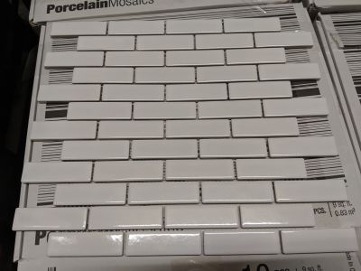 white porcelain White 1x3 Glossy Mini Brick Mosaic by anatolia