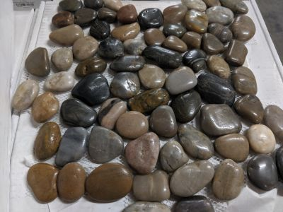black, blue, brown, gray, tan stone Bora Wilderness 12x12 Pebble Mosaic by anatolia