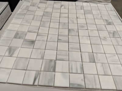 black, brown, gray glass Carrara 1x1 Mosaic by anatolia