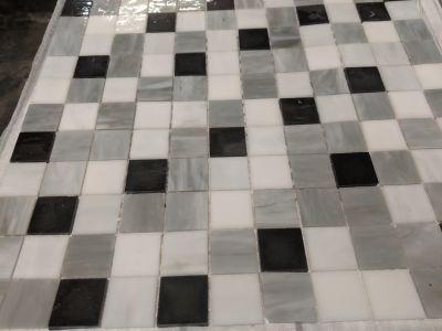 black, brown, gray, tan glass Arabescato 1x1 Mosaic by anatolia