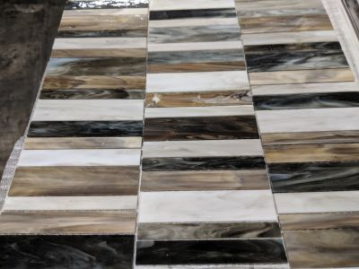 black, brown, gray, tan, white glass Caorallo Random Stack Mosaic by anatolia