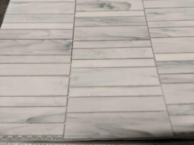 brown, gray glass Carrara Random Stack Mosaic by anatolia