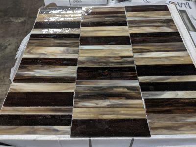 black, brown, gray, green, tan glass Paradiso Random Stacked Mosaic by anatolia