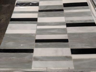 black, brown, gray, tan glass Arabescato Random Stack Mosaic by anatolia