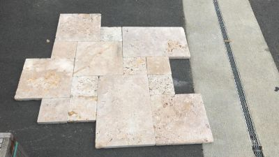 tan travertine Walnut Travertine Pavers