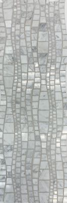 gray, white natural stone Carrara Wave Mosaic by c-line marble and granite