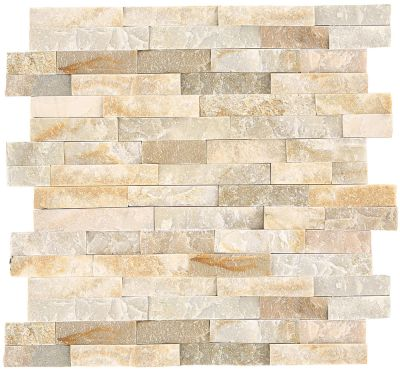 tan, white natural stone Golden Sun Stacked Stone by daltile