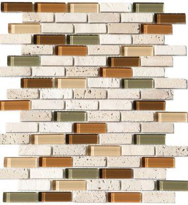 green, tan glass Mosaic Cristallo Travertino Autumn Strips