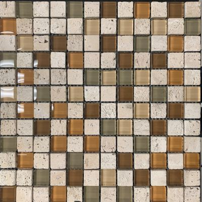 green, tan, beige glass Mosaic Cristallo Travertino Autumn 1x1