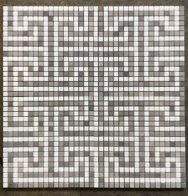"gray, white stone Greek Key 5/8"" Thassos / Cinder Grey Honed - Meshed"