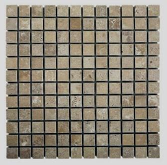 "brown, tan travertine Noche Travertine 1"" x 1"" Mosaic"