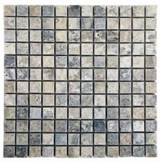 "blue, gray, tan, white travertine Silver Travertine 1"" x 1"" Mosaic"