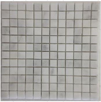 "gray, tan, white marble White Carrara 1"" x 1"" Mosaic"