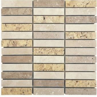 "brown, tan, white travertine Light Multi Colored 1"" x 4"" Travertine"