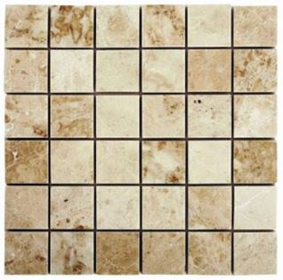 "brown, tan, white stone Cappuccino 2"" x 2"" Mosaic Marble Tiles"
