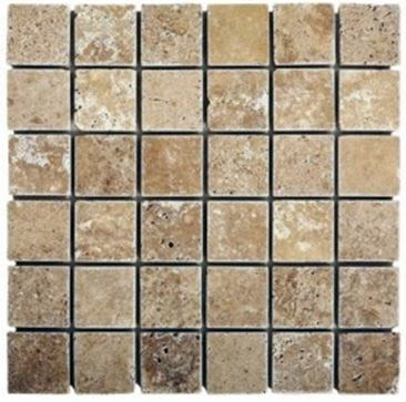 "brown, tan stone Noche Travertine 2"" x 2"" Tumbled Mosaic"