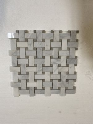 gray, white marble Basket Weave Calacatta Carrara