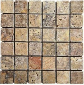 "brown, green, tan stone Scabos Travertine 2"" x 2"" Tumbled Mosaic Marble Tiles"
