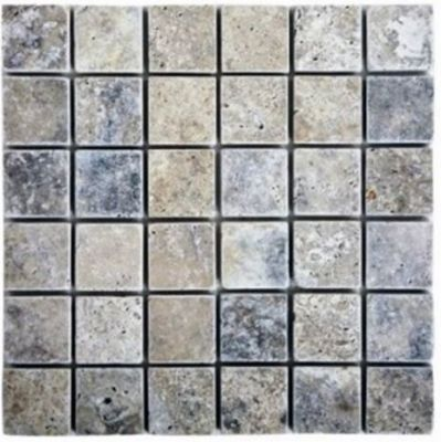 "blue, gray, white stone Silver Travertine 2"" x 2"" Tumbled Marble Tiles"