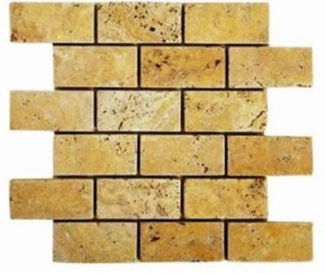 "gold, tan, yellow marble Brick Gold Mosaic 2"" x 4"" Tumbled Marble Tiles"