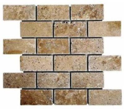 "tan, white marble Noche Brick Mosaic 2"" x 4"" Tumbled Marble Tiles"